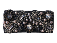Vintage Appliqué – Pewter, Silver colored beads on Black Grograin THUMBNAIL