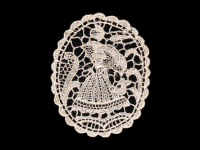Vintage Appliqué – Cream Lace with Woman and Flowers THUMBNAIL