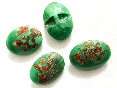 Green with Copper Inlay Glass No-Shank Vintage Buttons MAIN