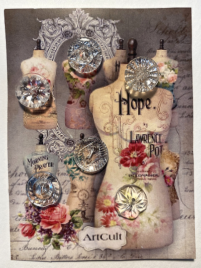 "VINTAGE 6 Glass Buttons on ""Hope"" card MAIN"
