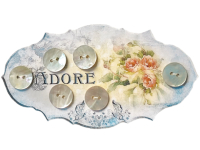 "VINTAGE Mother of Pearl Buttons on ""ADORE"" Card with Roses THUMBNAIL"