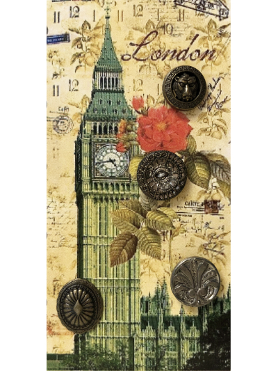 "VINTAGE Metallic Buttons on Card with ""London"" Big Ben MAIN"