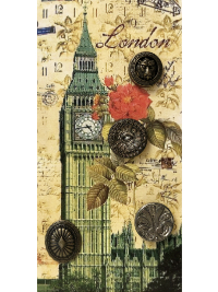 "VINTAGE Metallic Buttons on Card with ""London"" Big Ben THUMBNAIL"