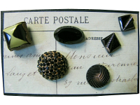 "VINTAGE Miscellaneous Black Buttons on ""Carte Postale"" Card THUMBNAIL"