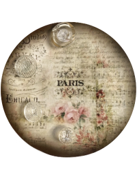"VINTAGE 4 Clear Buttons on Round ""PARIS"" Card THUMBNAIL"