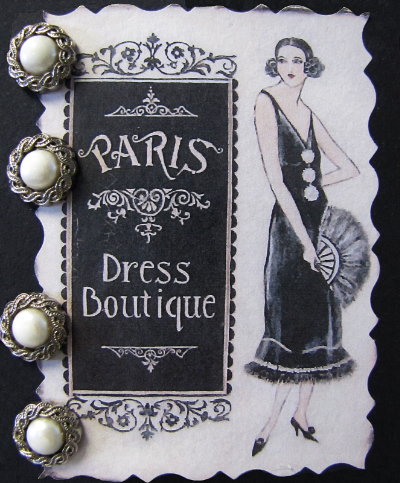 VINTAGE Buttons on Paris Dress Boutique Card with French Woman MAIN