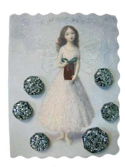 VINTAGE Black, Blue and Silver Glitter Buttons on Card with Fairy Holding Gift MAIN