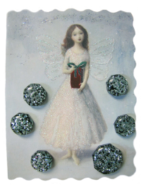 VINTAGE Black, Blue and Silver Glitter Buttons on Card with Fairy Holding Gift THUMBNAIL