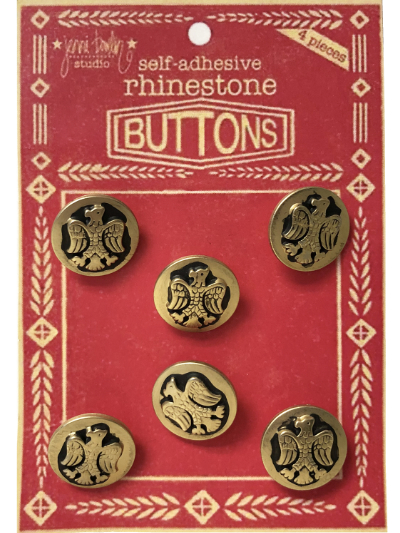 "VINTAGE Brass-Colored Eagle Buttons on Red ""BUTTONS"" Card MAIN"