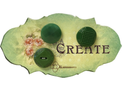 "VINTAGE Green Buttons on Green ""CREATE"" Card MAIN"