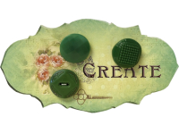 "VINTAGE Green Buttons on Green ""CREATE"" Card THUMBNAIL"