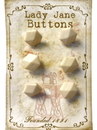 "VINTAGE Ivory Colored Geometric Buttons on ""Lady Jane Buttons"" Card THUMBNAIL"