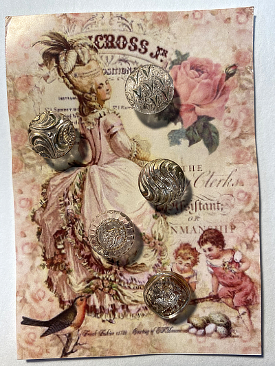 "VINTAGE 5 Glass Buttons ""Lady with Bird"" card MAIN"
