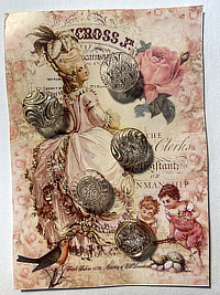"VINTAGE 5 Glass Buttons ""Lady with Bird"" card THUMBNAIL"