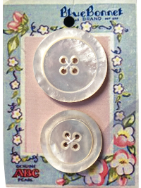 VINTAGE Large Mother of Pearl Buttons on Blue and Pink Floral Blue Bonnet Card THUMBNAIL