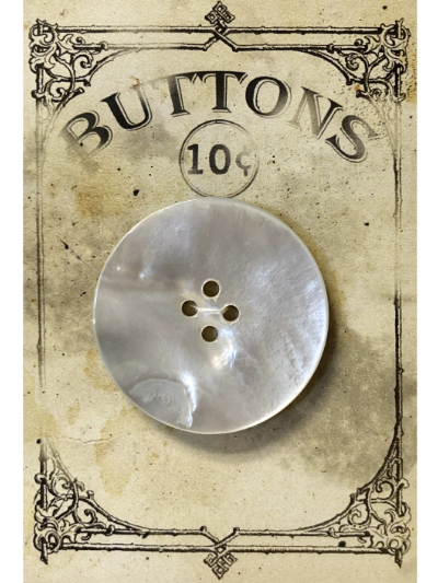 "VINTAGE Large Mother of Pearl Button on ""BUTTONS"" Card MAIN"