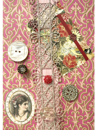 VINTAGE Miscellaneous Buttons on Large Magenta and Gold Card with Lace THUMBNAIL