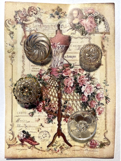 "VINTAGE 4 Glass Buttons on ""Mannequin with Roses"" card MAIN"