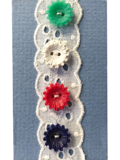 VINTAGE Colorful Buttons on Blue Card with White Lace MAIN