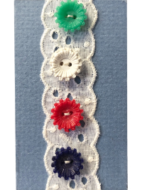 VINTAGE Colorful Buttons on Blue Card with White Lace THUMBNAIL