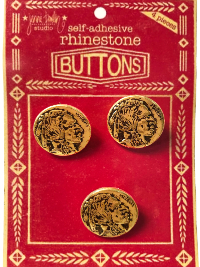 "VINTAGE Gold Colored Native American Round Buttons on Red ""BUTTONS"" Card THUMBNAIL"
