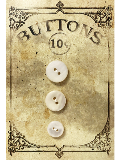 "VINTAGE Pearlescent Round Buttons (3) on ""BUTTONS"" Card MAIN"