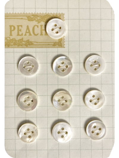 "VINTAGE Cream - Mother of Pearl Buttons on ""PEACH"" Card MAIN"