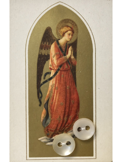 VINTAGE Cream-Colored Buttons on Card with Praying Angel MAIN