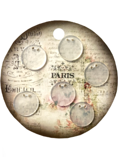 "VINTAGE Clear Round Buttons on Round ""PARIS"" Card MAIN"