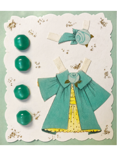 VINTAGE Sea Green Buttons on Mint and White Card with Yellow and Sea Green Dress MAIN