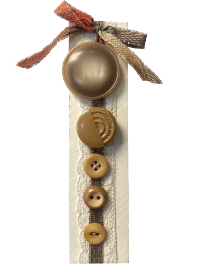 VINTAGE Tan and Taupe Buttons on Card with White Lace and Variegated Taupe Ribbon THUMBNAIL