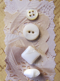 VINTAGE Miscellaneous White and Cream Buttons on Tan Card with White Lace THUMBNAIL