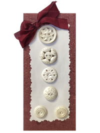 VINTAGE White and Cream-Colored Buttons on Maroon and White Card THUMBNAIL