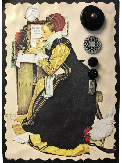 VINTAGE Black and Silver Buttons on Card with Woman and Rooster MAIN