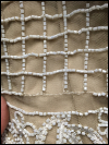 Tan and White Beaded Dress by Adrianna Papell    (#4) SWATCH
