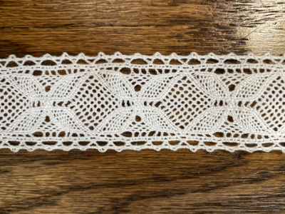 "Vintage Lace F - Delicate butterfly design, Antique white,  1 1/4"" wide-  Priced per yard MAIN"