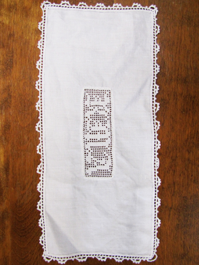 Vintage Hardanger Table Runner with Initials K.M.A. MAIN