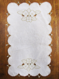 Vintage Table Runner with Scalloped Edges and Ivory Floral Embroidery THUMBNAIL