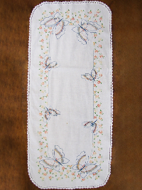 Vintage Table Runner with Butterflies and Floral Embroidery THUMBNAIL