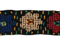 Vintage Embroidered Trim – Black with Multi Colored Flowers – 1 5/8 Yard THUMBNAIL