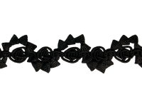 Vintage Gimp Flower Trim – Black THUMBNAIL
