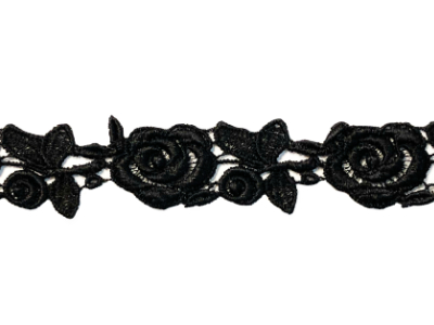 Vintage Flower Trim – Black Roses MAIN