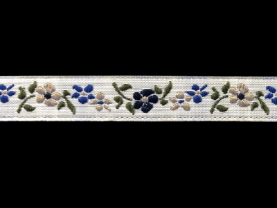 Vintage Trim – Blue and Taupe Embroidered Flowers MAIN