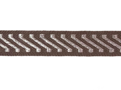 Vintage Trim – Brown with Silver Diagonal Stripes MAIN