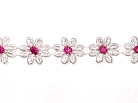 Vintage Flower Trim – White with Pink Centers THUMBNAIL