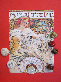VINTAGE Red and White Buttons on Biscuits Lefévre Utile Card THUMBNAIL