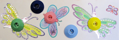 VINTAGE Colorful Plastic Buttons on Card with Butterflies MAIN