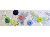 VINTAGE Colorful Plastic Buttons on Card with Butterflies THUMBNAIL