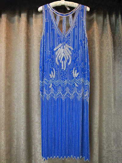 Royal Blue Flapper Beaded Dress by Megere   (#14) MAIN