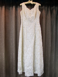 Cream-Colored Vintage Dress by Mike Benet Formals    (#1) THUMBNAIL